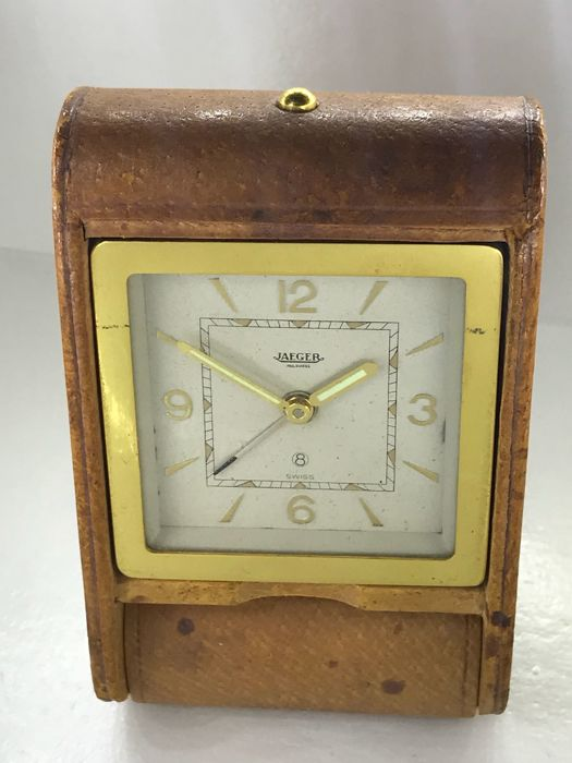 Jaeger LeCoultre 8 Day Folding Leather Travelling Alarm Clock