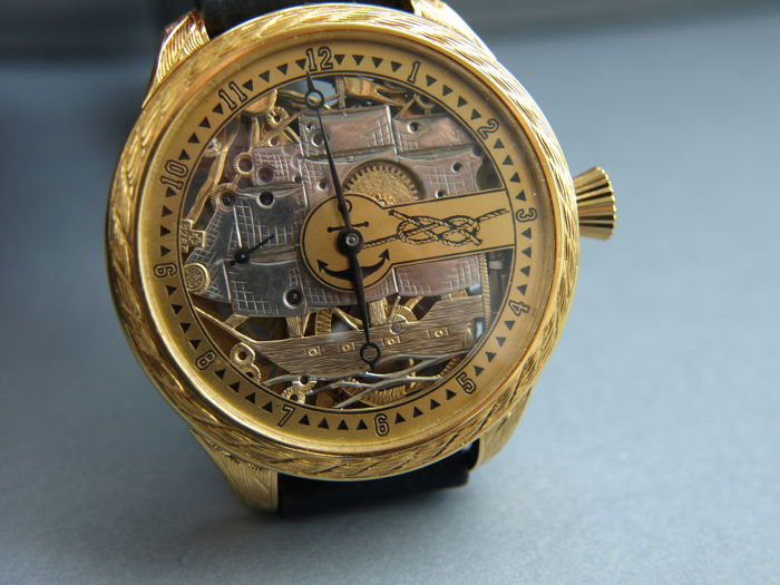 05 Omega skeleton mariage watch with ship theme 1902-1908