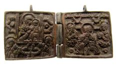 "Medieval folding bronze icon with Mother of God hodegitria type & st. Nicolas- 55 mm (2,16"") x 28 mm (1,10 "")"