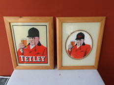 Tetley Beer, 2 framed advertising signs from the 1950s/60s