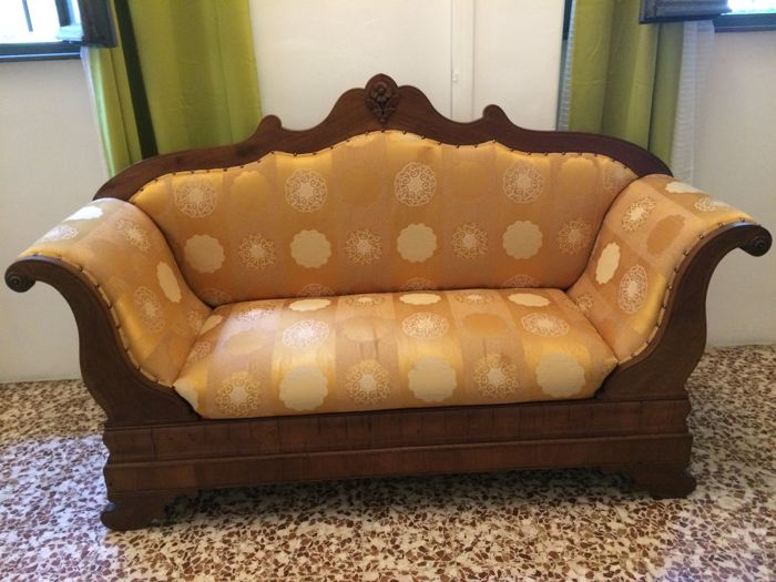Mahogany Sofa In Empire Style   Upholstered With Handmade Rubelli Fabric    Italy, First Half