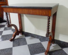 Charles X Pier Walnut Wood Table with Black Marble Top - France - ca. 1900's