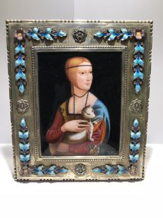 Luis Valles - 'Lady with an ermine' - fire enamel - in a silver frame - Spain - XXI century