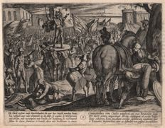 Antonio Tempesta (1555 - 1630) - War of the Romans Against the Batavians - Bruno Appointed Leader of the Caninefates - First state etched by Tempesta himself - In professional matting - 1611