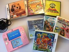 Pink Nintendo 2DS Games Console + 7 Games + Charger