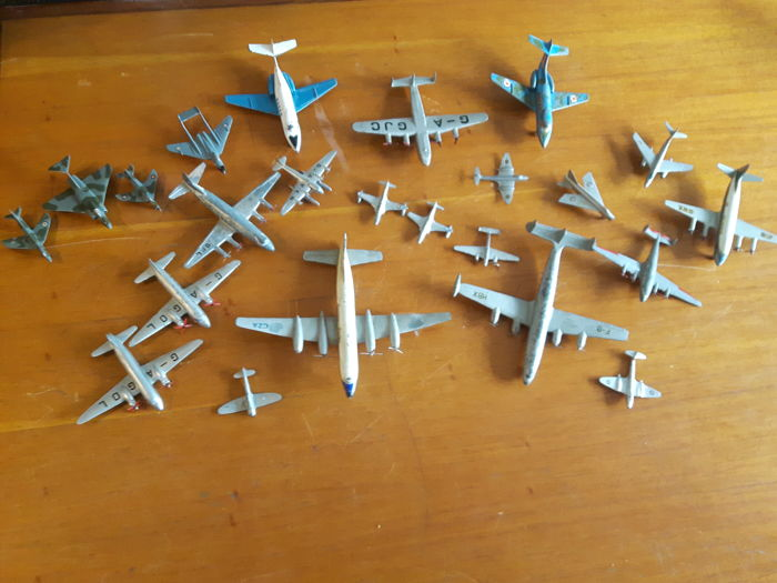 Collection of 23 die-cast airplane toy models made by Dinky Toys