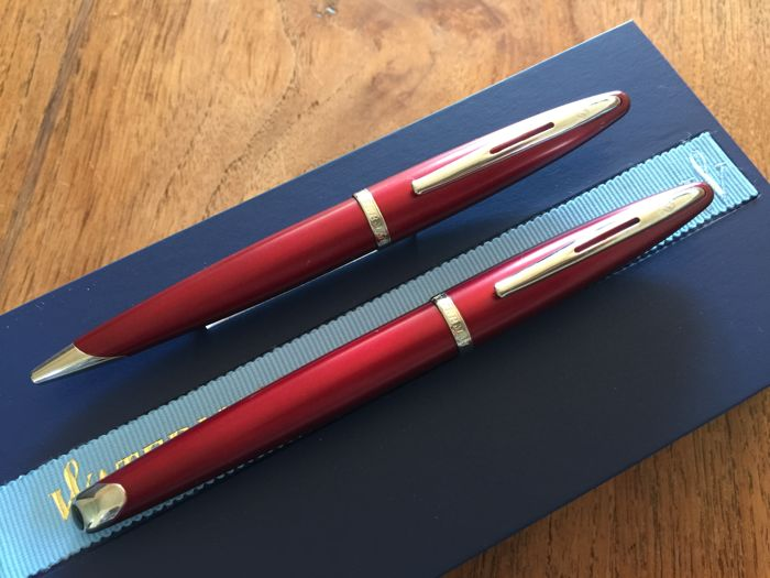 Waterman Carene set warm red fountain pen + ball pen 18 karat nib