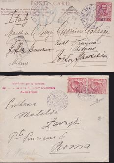 Italy, 1909/1941 - Collection of 12 surface mail (by sea) letters with unique cancellations