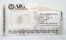 2.53 carat - Round Brilliant -   F color - SI3 clarity - AIG   SEALD certificate - None.