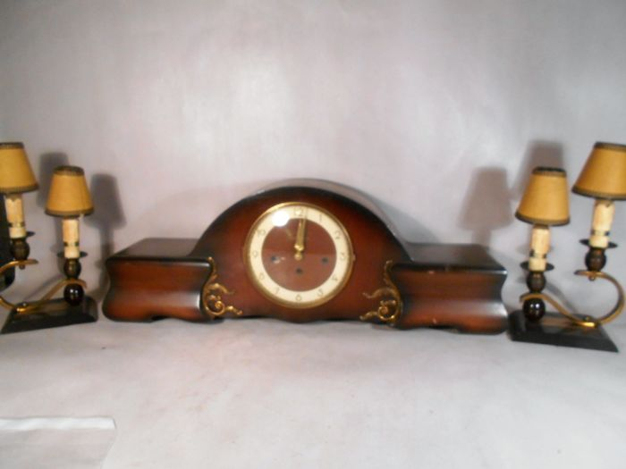 Belcanto Westminster fireplace mantel clock with 2 candlesticks