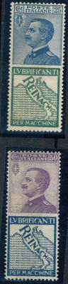 "Italy, Kingdom, 1924 – ""Reinach"" advertising, denominated 25 c. and 50 c. – Sass. No.  7 and 14."
