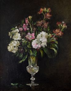 Jessie Algie (1859-1927) - A still life of a vase of flowers
