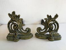 An antique pair of richly decorated fireplace bronze andirons - Louis XV style - 19th century