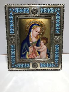 Luis Valles - Virgin in fire enamel and silver - Spain - 21st century