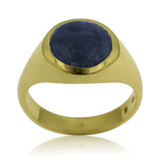 18kt yellow gold modern Marble Sapphire Ring, as new - size 59