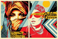 Shepard Fairey (OBEY) - Golden Future For Some Diptych