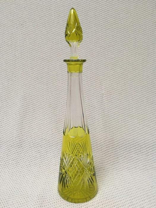 A cut crystal decanter, pyramid type, presumably Val Saint Lambert