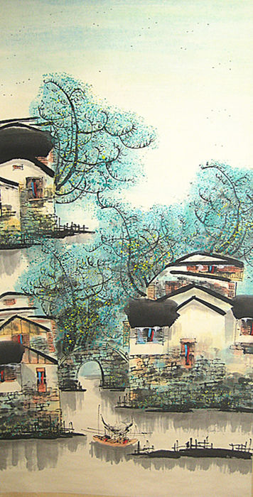 A  hand painted scroll painting, made after Wu Guanzhong 吴冠中《春》- China - late 20th century