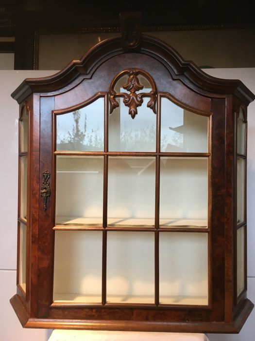Walnut Veneered Wall Mounted Display Cabinet, The Netherlands, 20th Century