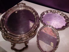 5 silver plated trays first half of 20th century, origin Europe