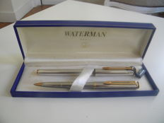 "Superb set of pen waterman model ""maestro"" of the 1980s silver plated - gold nib 18 original"