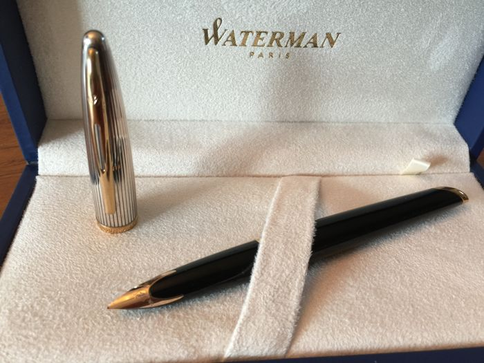 Waterman Carene fountain pen black with a silver plated cap and 18 karat nib