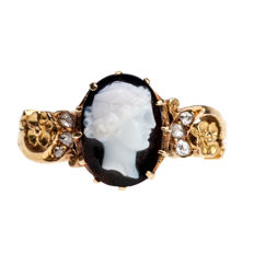 Diamond, Onyx, Gold Ring