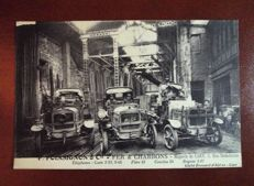 Lot of 2 postcards from France 1 DEP (14), E P. POINSIGNON automobile&fer et charbons, warehouse in Caen, very rare +  FRANCE DEP 76 Anglesqueville-L'Esneval, town hall and schools, very rare postcard