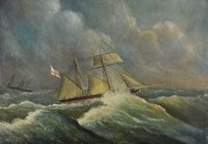 North European School (19th century) -  A pair of marine shipping scenes.