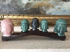 Lot of 5 Head of Buddha - Rose Quartz, Hematite and Korean Jade - 2100 gm (5)