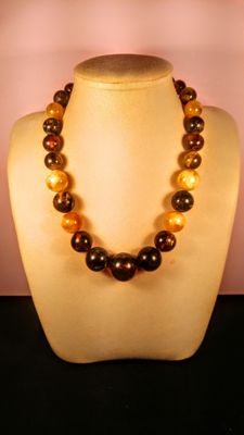 Vintage mixed colour modified Baltic Amber necklace,  necklace, 84 grams