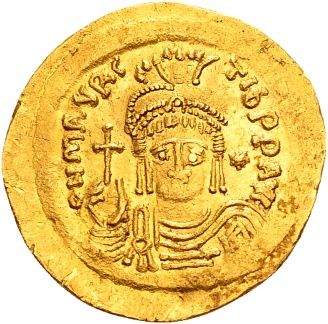 Byzantine Empire - Golden Solidus of emperor Mauricius Tiberius (582–602 A.D.) struck in Constantinople