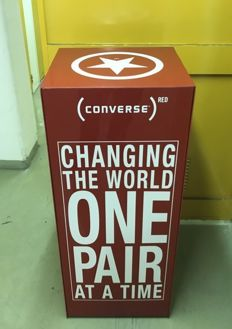 "Converse ""Changing the world one pair at a time""-big red plexiglass display box"