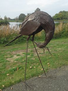 Big Secretary bird made of recycled metal, Zimbabwe.