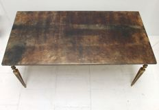 Aldo Tura - mid-century modern coffee table with varnished top of goatskin