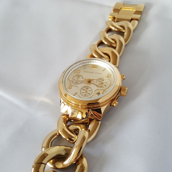 Michael Kors Runway Twist Chronograph Gold (Ladies) 2017, New, Complete in Box Catawiki