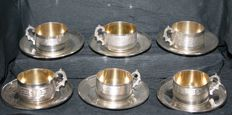 Beautiful set of 6 sterling silver mocha cups and saucers with Minerva's head 1st grade hallmark - master silversmith: Tirbour, Charles - Paris, France - 1897