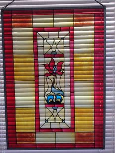 Beautiful hand-stained glass in metal frame SunCatcher - 20th century