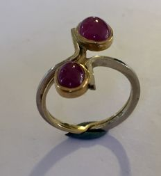 Unique piece - Handmade ring of yellow and white gold, 2x ruby, size 17 (53+)