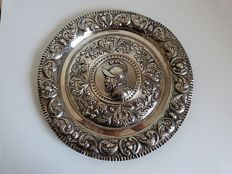 Silver tray or plate, 19th century