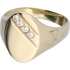 14 kt yellow-gold signet ring, set with four brilliant-cut diamonds of approx. 0.08 ct in total - ring size: 19 mm