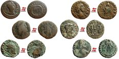 Roman Empire - 6 medium quality roman bronze coins lot minted in the IV century A.D.:  2 Gratian Maiorina Barbarous type; 1 Constantine II follis Barbarous; 1 Constans AE15 from Trier mint; 1 Tetricus I antoninianus; 1 Tetricus II antoninianus (6)