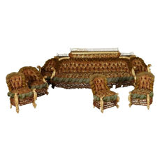 A Baroque style eight-piece upholstered, carved and gilt wood salon suite - Italy - late 19th century