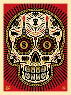 Shepard Fairey (OBEY) & Erensto Yerena -  Power & Glory Skull - Day of the Dead Red & Gold