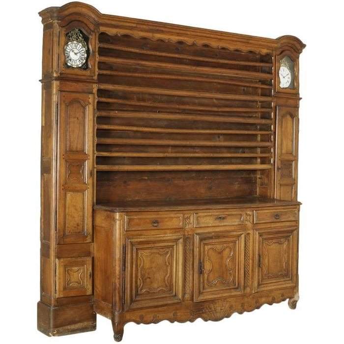 An unusual walnut wooden sideboard with two long clocks, Northern France, ca. 1770 with later adjustments