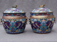 A Rare Pair of Cloisonne Jars with Lids / 5 Clawed Dragon - China - ca. 1920