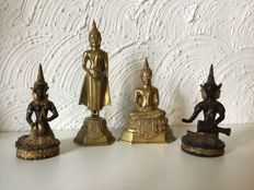 Collection of 4 Thai statues - Thailand - late 20th century