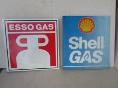 Double sided Esso Shell gas plexi and metal sign. 1990