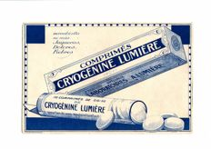 Vintage advertising sign from c. 1930 - Comprimé Cryogènine Lumière - Decoration