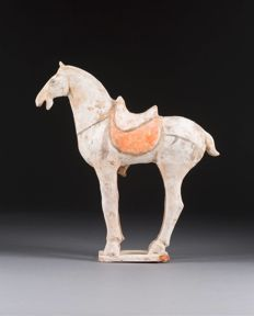 A Painted Terracotta Saddle Horse, Tang Dynasty, TL-test(1994) 30.2 cm x 28.5cm.